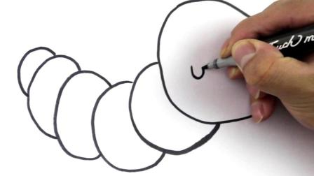 儿童简笔画 用几个小圈圈画一只可爱的毛毛虫,留着教宝宝咯