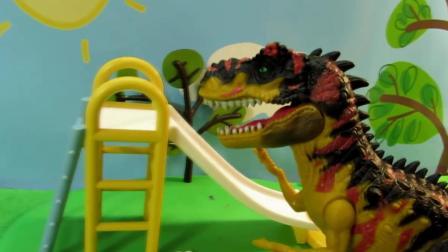 小猪佩琦猪爸爸遇恐龙袭击  猪爸爸勇敢对战恐龙 动漫精彩玩具游戏
