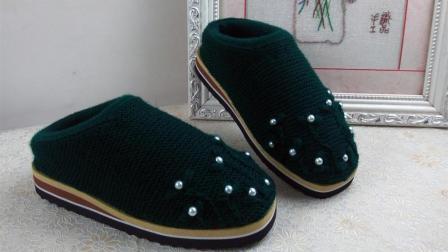 【手工织品】嵌珠与刺绣第二段毛线鞋编织视频教程嵌珠与刺绣结合毛线简易织法