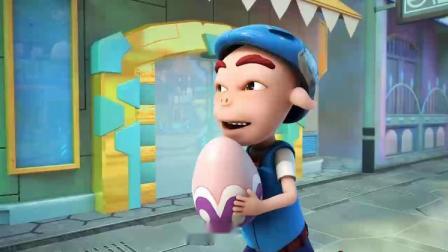 猪猪侠抢到了宠物蛋,结果摔倒了,宠物蛋被别人抢走了!