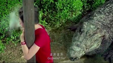 姑娘半路遇上巨鳄,转身就往电线杆上爬,没想到鳄鱼一口把包吃了