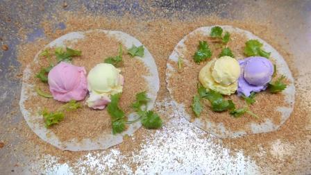台湾路边小吃街头食品 - 冰淇淋三明治有 草莓_香草_芋头_榴莲味道几种, 你喜欢哪个?