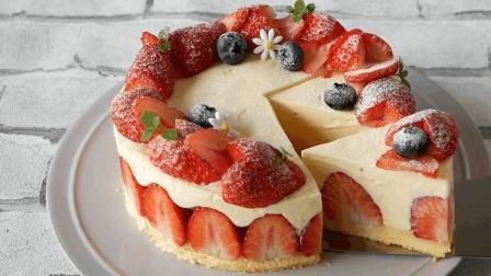 不用烘烤的草莓巧克力慕斯蛋糕, 清香美味的高颜值甜品