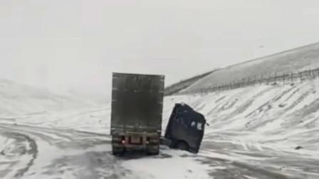 大货车侧滑暴风雪中, 暴风雪的日子里一定要安全行车, 安全驾驶