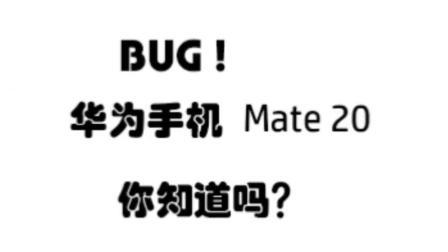 BUG! 华为 Mate 20 系列! 你知道不?