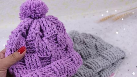 【芸妈手作A75】钩针编织棋盘格宝宝儿童成人帽子绒球帽新手手工视频视频全集