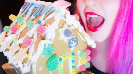 小姐姐手工制作梦幻姜饼房屋, 上面镶满了美味糖果, 真是舍不得下口