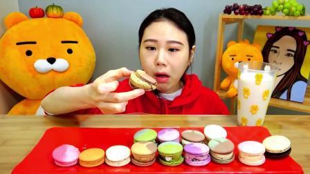 韩国大胃王卡妹, 吃网红美食马卡龙, 网友: 这颜色看着就很有食欲