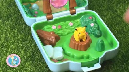 神奇宝贝精灵游乐场玩具皮卡丘走路草在树桩上下棋吊床晒太阳