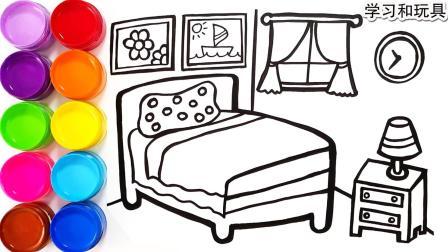 儿童绘画简笔画漂亮的房间涂色与少儿画画