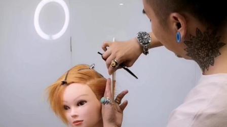 鬓角区的剪发结构加上切线技巧, 鑫米老师主讲!
