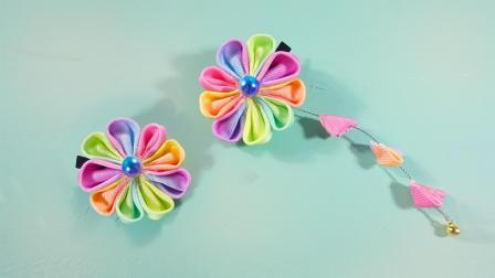 彩虹渐变和风发饰diy, 还可以做一个迷你版给芭比娃娃戴