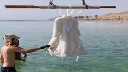设计师将一件礼服丢进死海, 两年后打捞上来, 竟变成这样!
