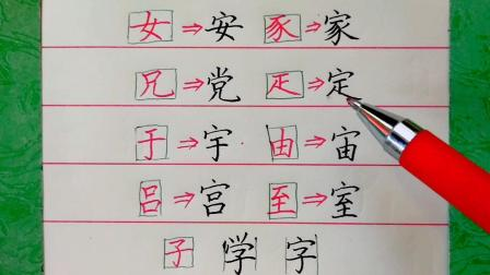 练字秘诀26: 3句口诀教你写好带宝盖的常用字!