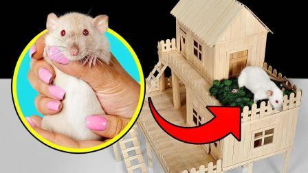 国外小哥真的闲, 用雪糕棒给老鼠做了个别墅, 这手工是真厉害!