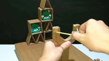 外国小哥用废纸箱, 自制愤怒的小鸟游戏机, 这手工太厉害!