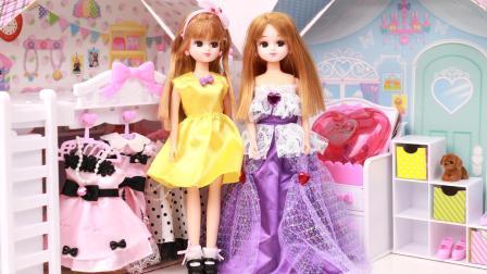 趣盒子芭比公主世界 丽佳娃娃可爱裙子三件套 日本芭比娃娃玩具分享