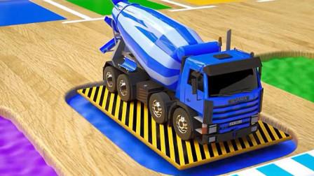 汽车总动员: 玩具拖车 水泥搅拌车、校车 消防车一起跳进彩色染料池染色