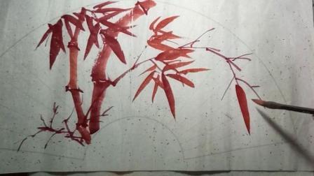 写意朱竹的扇面构图画法-小石国画
