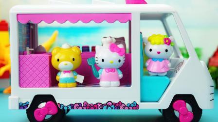 玩具大联萌 凯蒂猫的移动餐车过家家玩具 佩奇请客吃饭忘记带钱了