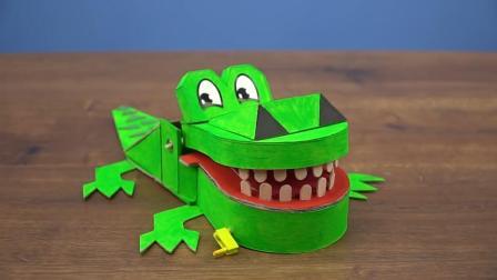 趣味DIY, 达人教你用纸板和冰棒棍制作鳄鱼牙医玩具, 非常好玩
