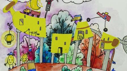蔡叔叔讲画 创意儿童画:高科技香蕉房子