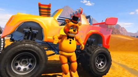 哎呀! 大熊开着越野车出发! 结果撞到甜甜圈赛道了呢!
