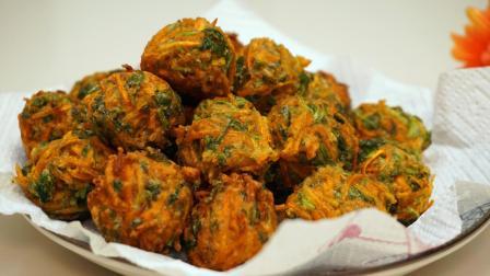 """过年常吃的""""胡萝卜香菜丸子"""", 外酥里嫩, 素丸子好吃又好做!"""