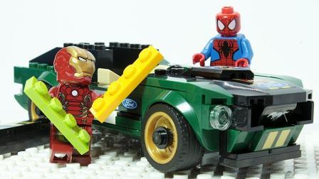 乐高定格动画: 乐高铁人和蜘蛛侠砖建汽车模型