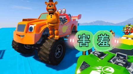 哇哦! 大熊开着越野车在赛道上转圈! 太厉害了吧!