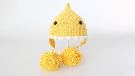 毛儿手作-小鲸鱼毛球亲子帽钩针新手视频教程毛线编织步骤