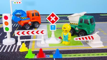 认识工程车标志牌挖掘机翻斗车自卸车模型 宝宝益智早教玩具