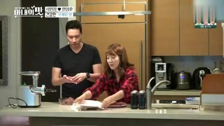 韩国明星夫妻在家做美食, 手工香肠和芝士汉堡, 感叹比外面的好吃