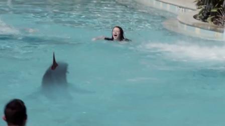 游泳池出现鲨鱼,萝莉哭喊着救命,男子冲过去救她结果把命搭上了