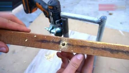 牛人脑洞大开自制一个电钻支架, 实用不错让人佩服