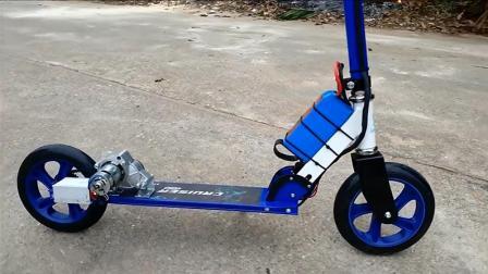 普通滑板车装个电机改造成电动的, 动手能力不服不行!