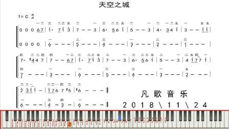 中老年学钢琴: 天空之城双手简谱, 简单好听好学