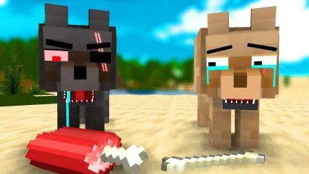 Minecraft MC我的世界动画片 三只狼偷肉吃的故事