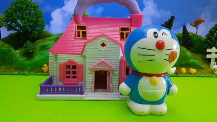 哆啦A梦机器猫宴请奶牛斑点狗吃美味蛋糕
