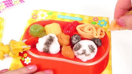 美莉玩具酷 汽车玩具 霸王龙三角龙做迷你美食午餐便当食玩玩具