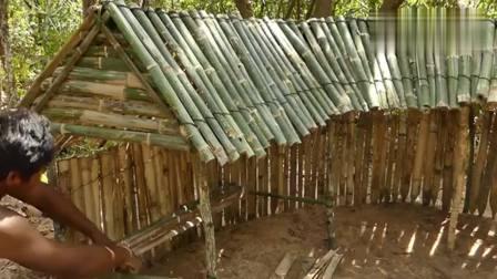 男子用竹和木为自家的鸡建造鸡舍, 大家觉得怎么样