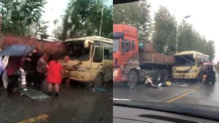湖南攸县一客车与半挂牵引车相撞 4死9伤