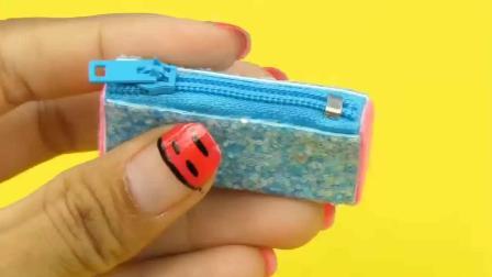 女子为芭比灰姑娘DIY迷你学校用品, 小的如此可爱