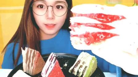 漂亮小姐姐吃奶油千层蛋糕, 八拼的爆浆千层, 看着就很有食欲!