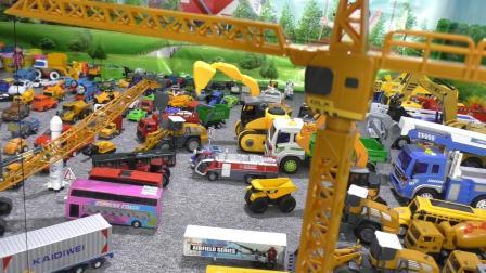 益智工程车玩具育儿视频 塔吊起重机模拟作业