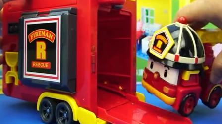 国外优秀儿童玩具: 变形警车珀利消防车罗伊去救火, 过家家厨房玩具