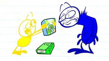 搞笑铅笔动画, 铅笔人穿越时空被拖进书中, 小黄人喝杯红酒就醉倒