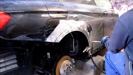 破损汽车翻新修复过程, 钣金喷漆手艺不错!