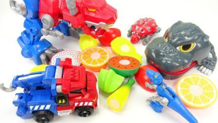 哆啦盒子玩具乐园 变形汽车恐龙玩具吃水果变形金刚救援机器人