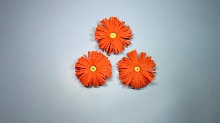 手工折纸教程: 3分钟折出漂亮的小菊花, 方法简单一学就会